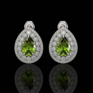 9.54 ctw Tourmaline & Diamond Victorian Earrings 14K