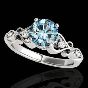 1.15 ctw SI Certified Fancy Blue Diamond Antique Ring