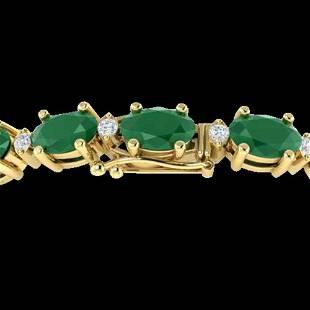 30.8 ctw Emerald & VS/SI Diamond Eternity Bracelet 10k