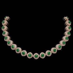 82.17 ctw Emerald & Diamond Victorian Necklace 14K Rose