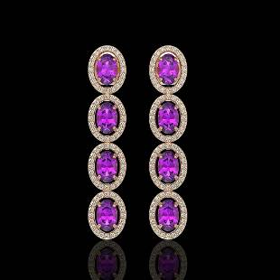 5.56 ctw Amethyst & Diamond Micro Pave Halo Earrings