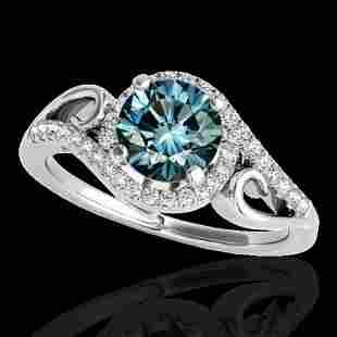 1.25 ctw SI Certified Fancy Blue Diamond Halo Ring 10k