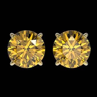 1.97 ctw Certified Intense Yellow Diamond Stud Earrings