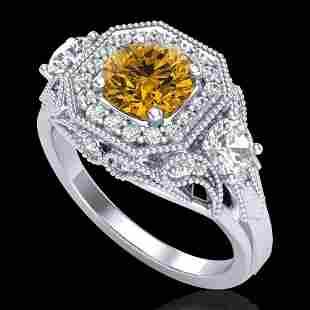 2.11 ctw Intense Fancy Yellow Diamond Art Deco Ring 18k