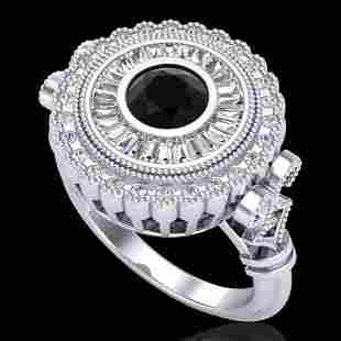 2.03 ctw Fancy Black Diamond Engagment Art Deco Ring