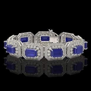 61.92 ctw Sapphire & Diamond Victorian Bracelet 14K