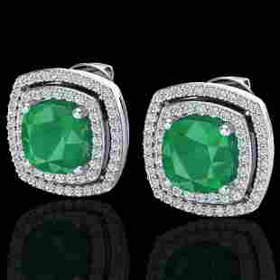 4.95 ctw Emerald & Micro Pave VS/SI Diamond Earrings
