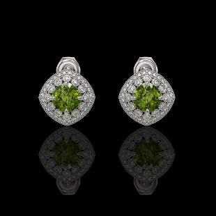 4.39 ctw Tourmaline & Diamond Victorian Earrings 14K