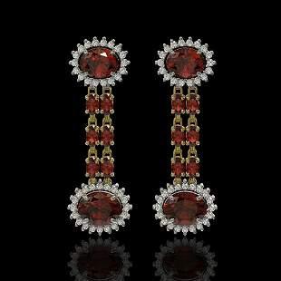 8.87 ctw Garnet & Diamond Earrings 14K Yellow Gold -