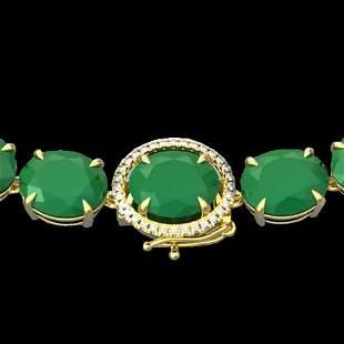 170 ctw Emerald & VS/SI Diamond Halo Micro Necklace 14k