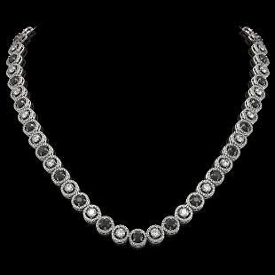 20.35 ctw Black & Diamond Micro Pave Necklace 18K White