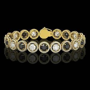 13.96 ctw Black & Diamond Micro Pave Bracelet 18K