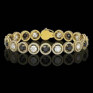 3.96 ctw Black & Diamond Micro Pave Bracelet 18K