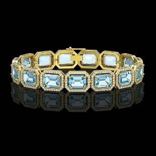 35.61 ctw Sky Topaz & Diamond Micro Pave Halo Bracelet