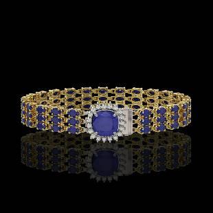 1.91 ctw Sapphire & Diamond Bracelet 14K Yellow Gold -