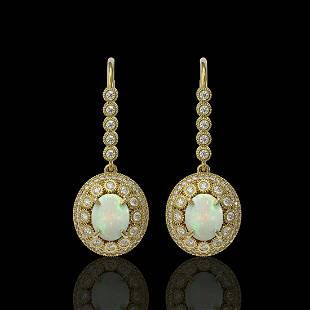 7.81 ctw Certified Opal & Diamond Victorian Earrings
