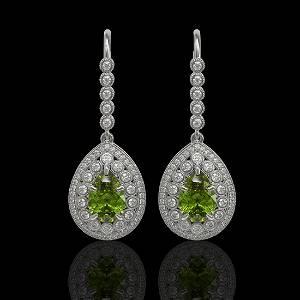 9.95 ctw Tourmaline & Diamond Victorian Earrings 14K