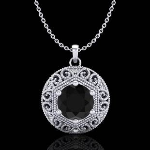 1.11 ctw Fancy Black Diamond Art Deco Stud Necklace 18k