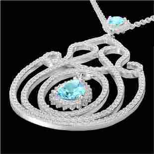 3.20 ctw Sky Blue Topaz & Micro Diamond Heart Necklace