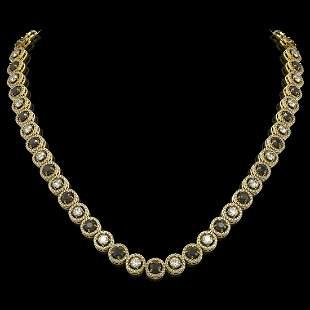 20.35 ctw Black & Diamond Micro Pave Necklace 18K