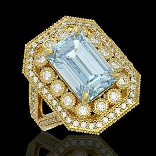 5.69 ctw Certified Aquamarine & Diamond Victorian Ring