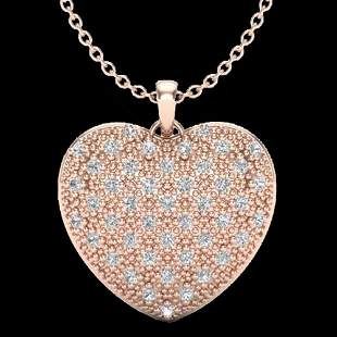 1.0 ctw Micro Pave VS/SI Diamond Heart Necklace 14k