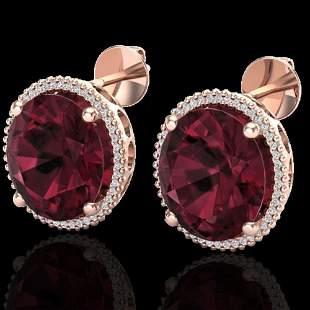 20 ctw Garnet & Micro Pave VS/SI Diamond Earrings 14k