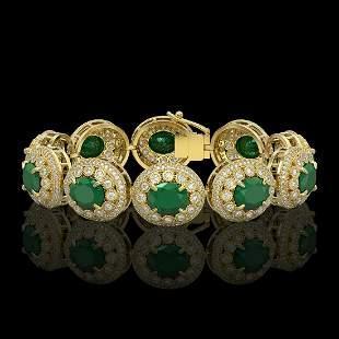 49.17 ctw Emerald & Diamond Victorian Bracelet 14K