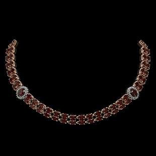32.67 ctw Garnet & Diamond Necklace 14K Rose Gold -