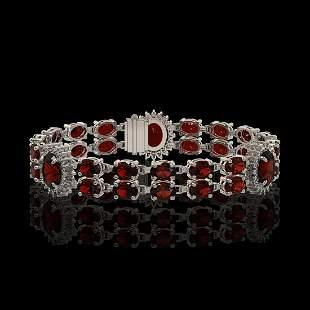 16.47 ctw Garnet & Diamond Bracelet 14K White Gold -