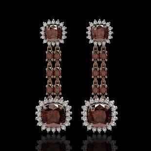 18.92 ctw Garnet & Diamond Earrings 14K Rose Gold -