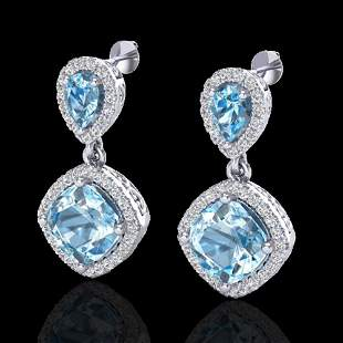 7 ctw Sky Blue Topaz & Micro VS/SI Diamond Earrings 10k
