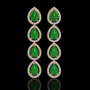 6.20 ctw Jade & Diamond Micro Pave Halo Earrings 10k