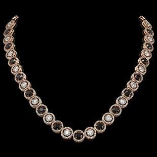32.10 ctw Black & Diamond Micro Pave Necklace 18K Rose