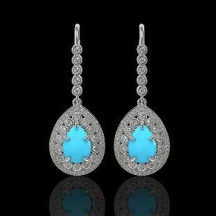 7.95 ctw Turquoise & Diamond Victorian Earrings 14K