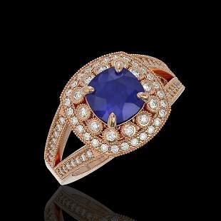 2.69 ctw Certified Sapphire & Diamond Victorian Ring