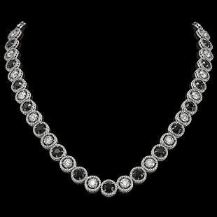 32.10 ctw Black & Diamond Micro Pave Necklace 18K White