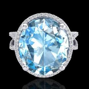 12 ctw Sky Blue Topaz & Micro Pave VS/SI Diamond Ring