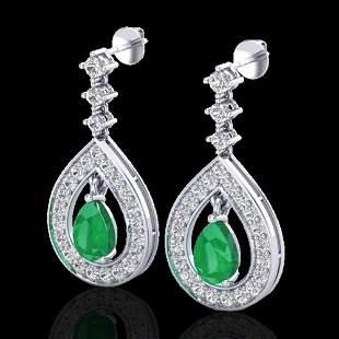 2.25 ctw Emerald & Micro Pave VS/SI Diamond Earrings