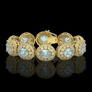 39.82 ctw Aquamarine & Diamond Victorian Bracelet 14K