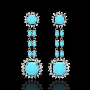 16.04 ctw Turquoise & Diamond Earrings 14K Rose Gold -