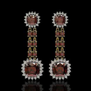 18.92 ctw Garnet & Diamond Earrings 14K Yellow Gold -