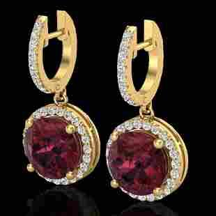 5.50 ctw Garnet & Micro Pave VS/SI Diamond Designer 18k