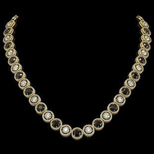 32.10 ctw Black & Diamond Micro Pave Necklace 18K