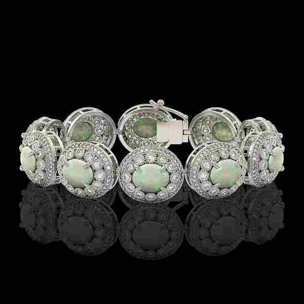 40.37 ctw Certified Opal & Diamond Victorian Bracelet