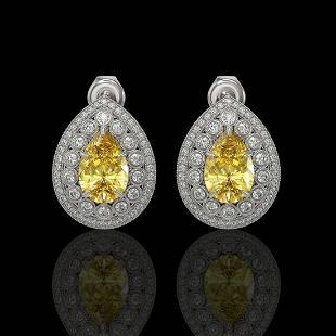 7.74 ctw Canary Citrine & Diamond Victorian Earrings