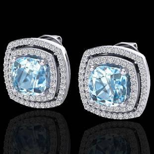 4.05 ctw Sky Blue Topaz & Micro VS/SI Diamond Earrings