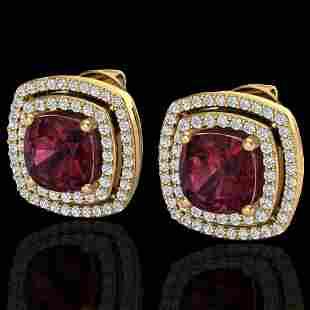 4.55 ctw Garnet & Micro Pave VS/SI Diamond Earrings 18k