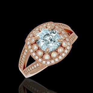 2.39 ctw Certified Aquamarine & Diamond Victorian Ring
