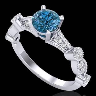 1.03 ctw Fancy Intense Blue Diamond Art Deco Ring 18k